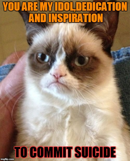 Often said by my friend.Too gold not to become a meme | YOU ARE MY IDOL,DEDICATION AND INSPIRATION TO COMMIT SUICIDE | image tagged in memes,grumpy cat,funny,cruel,powermetalhead,suicide | made w/ Imgflip meme maker