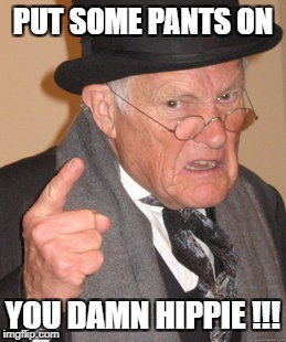Grumpy old man | PUT SOME PANTS ON YOU DAMN HIPPIE !!! | image tagged in memes,back in my day | made w/ Imgflip meme maker