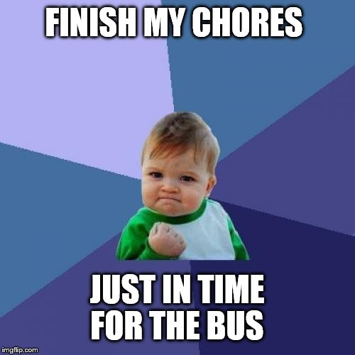 Success Kid Meme | FINISH MY CHORES JUST IN TIME FOR THE BUS | image tagged in memes,success kid | made w/ Imgflip meme maker