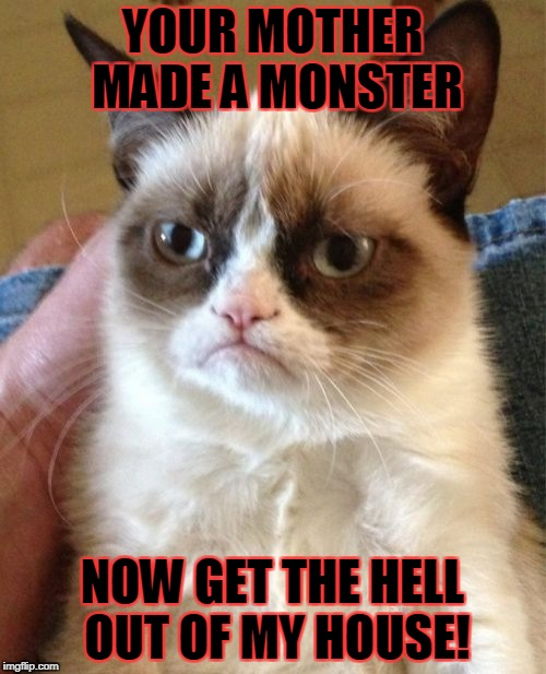 Grumpy Cat Meme | YOUR MOTHER MADE A MONSTER NOW GET THE HELL OUT OF MY HOUSE! | image tagged in memes,grumpy cat | made w/ Imgflip meme maker