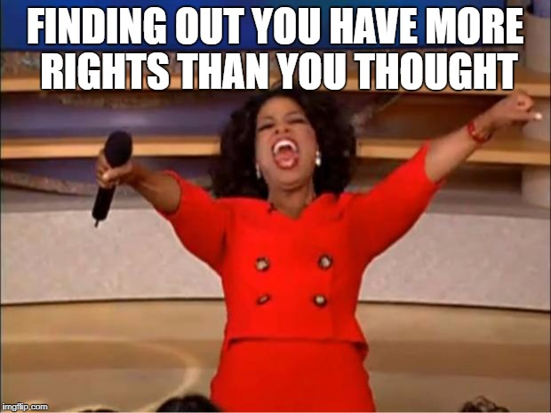 Oprah You Get A Meme | FINDING OUT YOU HAVE MORE RIGHTS THAN YOU THOUGHT | image tagged in memes,oprah you get a | made w/ Imgflip meme maker