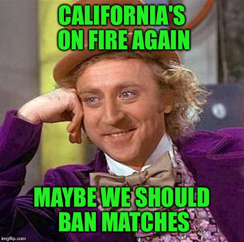 Creepy Condescending Wonka Meme | CALIFORNIA'S ON FIRE AGAIN MAYBE WE SHOULD BAN MATCHES | image tagged in memes,creepy condescending wonka | made w/ Imgflip meme maker