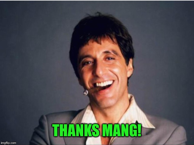 Scarface | THANKS MANG! | image tagged in scarface | made w/ Imgflip meme maker
