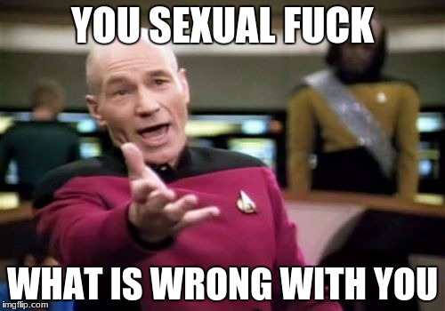Picard Wtf Meme | YOU SEXUAL F**K WHAT IS WRONG WITH YOU | image tagged in memes,picard wtf | made w/ Imgflip meme maker