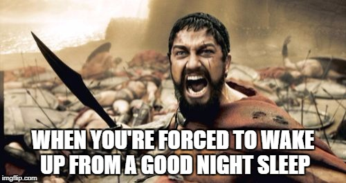 Sparta Leonidas Meme | WHEN YOU'RE FORCED TO WAKE UP FROM A GOOD NIGHT SLEEP | image tagged in memes,sparta leonidas | made w/ Imgflip meme maker