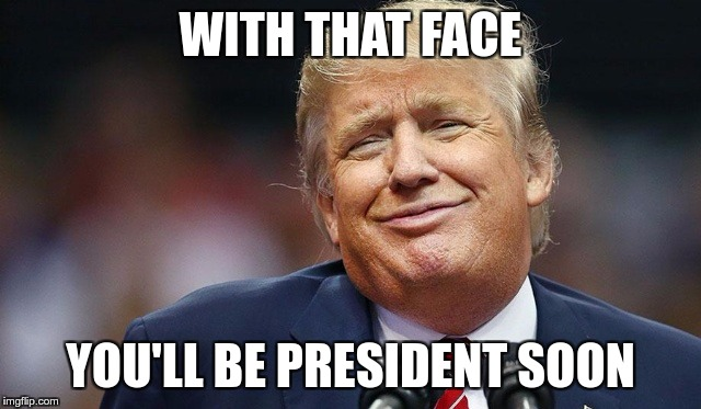 Trump Oopsie | WITH THAT FACE YOU'LL BE PRESIDENT SOON | image tagged in trump oopsie | made w/ Imgflip meme maker