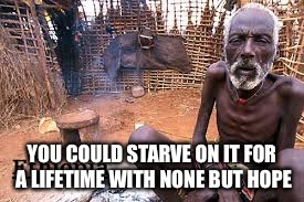 YOU COULD STARVE ON IT FOR A LIFETIME WITH NONE BUT HOPE | made w/ Imgflip meme maker