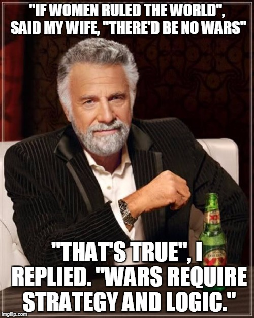 "The Most Interesting Man In The World Meme | ""IF WOMEN RULED THE WORLD"", SAID MY WIFE, ""THERE'D BE NO WARS"" ""THAT'S TRUE"", I REPLIED. ""WARS REQUIRE STRATEGY AND LOGIC."" 