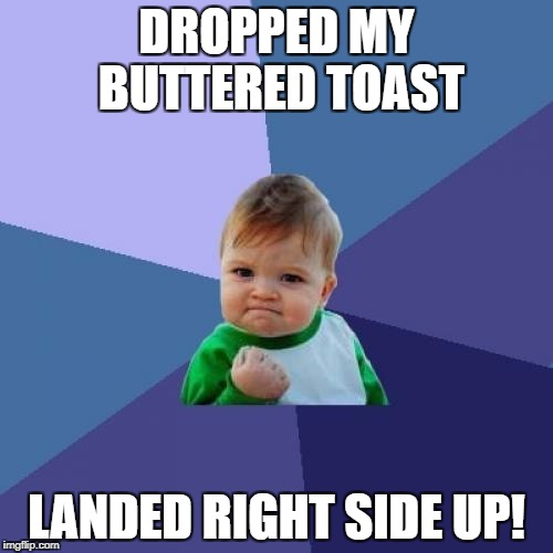 Success Kid Meme | DROPPED MY BUTTERED TOAST LANDED RIGHT SIDE UP! | image tagged in memes,success kid | made w/ Imgflip meme maker