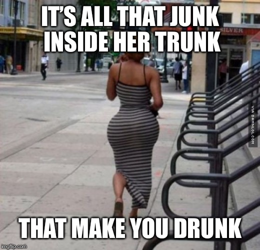 IT'S ALL THAT JUNK INSIDE HER TRUNK THAT MAKE YOU DRUNK | made w/ Imgflip meme maker