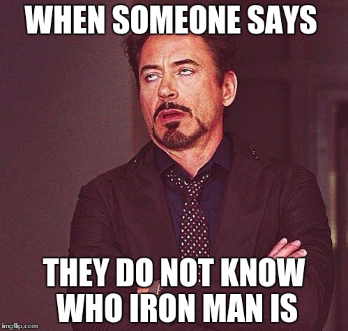 450 till I die... Or whatever | WHEN SOMEONE SAYS THEY DO NOT KNOW WHO IRON MAN IS | image tagged in 450 till i die or whatever | made w/ Imgflip meme maker