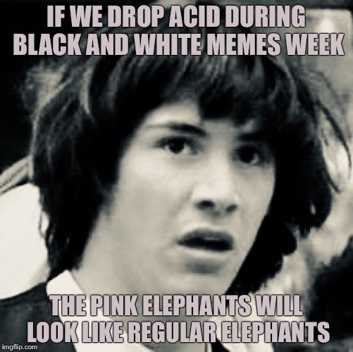 IF WE DROP ACID DURING BLACK AND WHITE MEMES WEEK THE PINK ELEPHANTS WILL LOOK LIKE REGULAR ELEPHANTS | image tagged in bw meme week,memes,conspiracy keanu,lsd | made w/ Imgflip meme maker