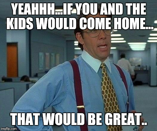 That Would Be Great Meme | YEAHHH...IF YOU AND THE KIDS WOULD COME HOME... THAT WOULD BE GREAT.. | image tagged in memes,that would be great | made w/ Imgflip meme maker