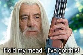 Shotgun Gandalf | Hold my mead - I've got this! | image tagged in shotgun gandalf | made w/ Imgflip meme maker