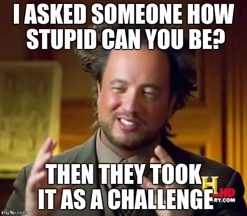 Ancient Aliens Meme | I ASKED SOMEONE HOW STUPID CAN YOU BE? THEN THEY TOOK IT AS A CHALLENGE | image tagged in memes,ancient aliens | made w/ Imgflip meme maker