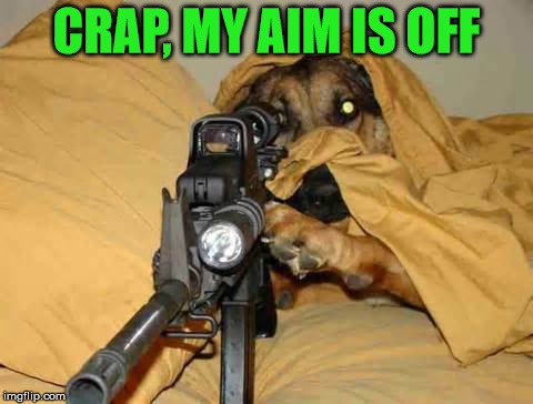 Sniper Dog | CRAP, MY AIM IS OFF | image tagged in sniper dog | made w/ Imgflip meme maker