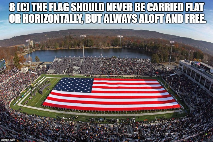 disrespecting the flag   | 8 (C) THE FLAG SHOULD NEVER BE CARRIED FLAT OR HORIZONTALLY, BUT ALWAYS ALOFT AND FREE. | image tagged in flag code | made w/ Imgflip meme maker