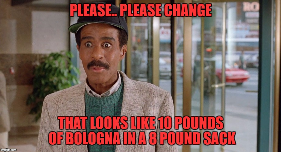 PLEASE.. PLEASE CHANGE THAT LOOKS LIKE 10 POUNDS OF BOLOGNA IN A 8 POUND SACK | made w/ Imgflip meme maker