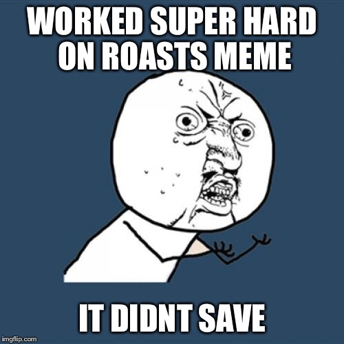 Y U No Meme | WORKED SUPER HARD ON ROASTS MEME IT DIDNT SAVE | image tagged in memes,y u no | made w/ Imgflip meme maker