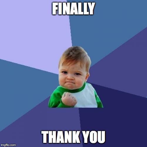 Success Kid Meme | FINALLY THANK YOU | image tagged in memes,success kid | made w/ Imgflip meme maker