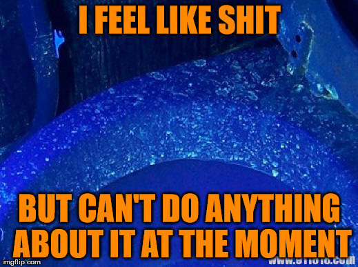 Toilet Under UV Light | I FEEL LIKE SHIT BUT CAN'T DO ANYTHING ABOUT IT AT THE MOMENT | image tagged in toilet under uv light | made w/ Imgflip meme maker