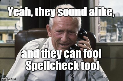 Tracy | Yeah, they sound alike, and they can fool Spellcheck too! | image tagged in tracy | made w/ Imgflip meme maker
