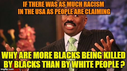 Steve Harvey Meme | IF THERE WAS AS MUCH RACISM IN THE USA AS PEOPLE ARE CLAIMING WHY ARE MORE BLACKS BEING KILLED BY BLACKS THAN BY WHITE PEOPLE ? | image tagged in memes,steve harvey | made w/ Imgflip meme maker