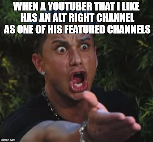 DJ Pauly D Meme | WHEN A YOUTUBER THAT I LIKE HAS AN ALT RIGHT CHANNEL AS ONE OF HIS FEATURED CHANNELS | image tagged in memes,dj pauly d,politics,youtube | made w/ Imgflip meme maker