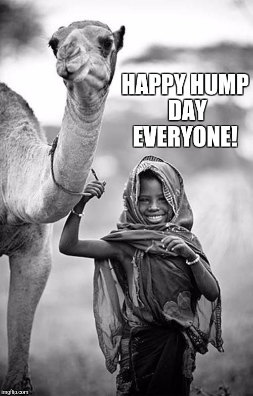 White & Black Meme Week, a Pipe_Picasso event, Oct. 8th - 14th | HAPPY HUMP DAY EVERYONE! | image tagged in black and white,jbmemegeek,hump day camel,hump day,cute kids | made w/ Imgflip meme maker