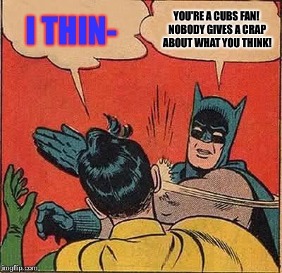Batman Slapping Robin Meme | I THIN- YOU'RE A CUBS FAN! NOBODY GIVES A CRAP ABOUT WHAT YOU THINK! | image tagged in memes,batman slapping robin | made w/ Imgflip meme maker