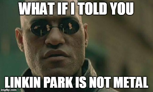 Matrix Morpheus Meme | WHAT IF I TOLD YOU LINKIN PARK IS NOT METAL | image tagged in memes,matrix morpheus | made w/ Imgflip meme maker