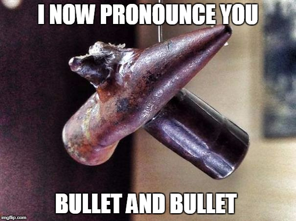 yup | I NOW PRONOUNCE YOU BULLET AND BULLET | image tagged in bullets,marriage | made w/ Imgflip meme maker