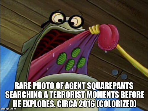 RARE PHOTO OF AGENT SQUAREPANTS SEARCHING A TERRORIST MOMENTS BEFORE HE EXPLODES. CIRCA 2016 (COLORIZED) | image tagged in bubble bass | made w/ Imgflip meme maker