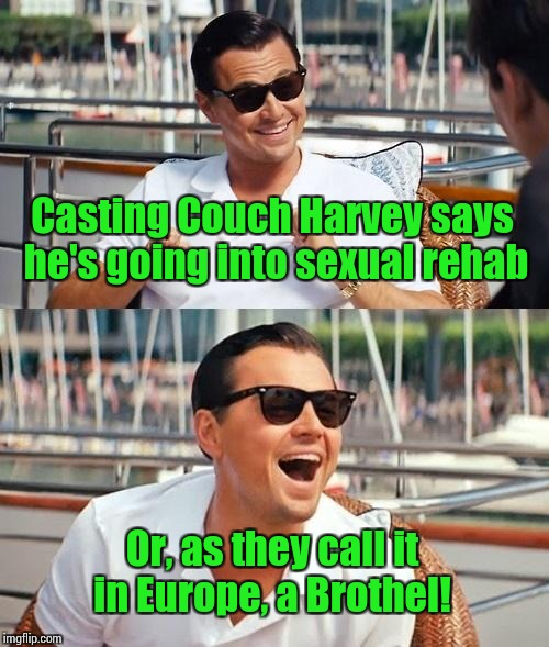 Leonardo Dicaprio Wolf Of Wall Street Meme | Casting Couch Harvey says he's going into sexual rehab Or, as they call it in Europe, a Brothel! | image tagged in memes,leonardo dicaprio wolf of wall street | made w/ Imgflip meme maker