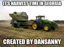 harvest time | IT'S HARVEST TIME IN GEORGIA CREATED BY DANSANNY | image tagged in funny memes | made w/ Imgflip meme maker
