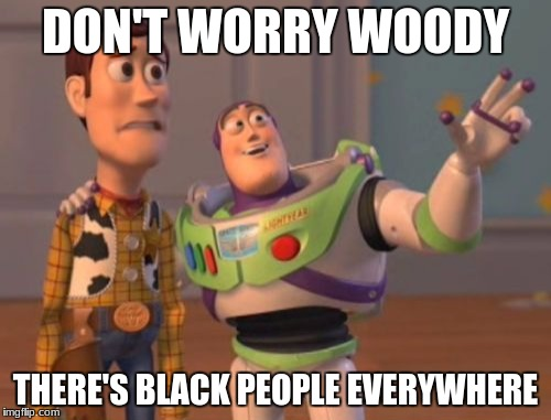 X, X Everywhere Meme | DON'T WORRY WOODY THERE'S BLACK PEOPLE EVERYWHERE | image tagged in memes,x x everywhere | made w/ Imgflip meme maker