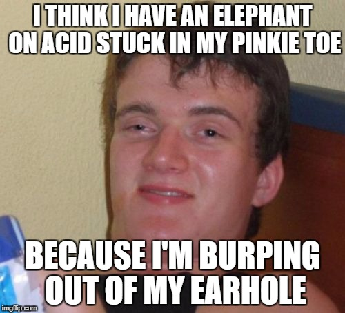 10 Guy Meme | I THINK I HAVE AN ELEPHANT ON ACID STUCK IN MY PINKIE TOE BECAUSE I'M BURPING OUT OF MY EARHOLE | image tagged in memes,10 guy,drugs,high,acid,wtf | made w/ Imgflip meme maker