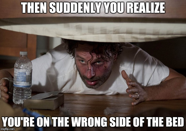 The Walking Dead Bed | THEN SUDDENLY YOU REALIZE YOU'RE ON THE WRONG SIDE OF THE BED | image tagged in the walking dead bed | made w/ Imgflip meme maker