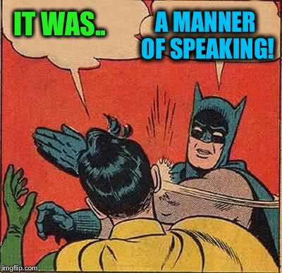 Batman Slapping Robin Meme | IT WAS.. A MANNER OF SPEAKING! | image tagged in memes,batman slapping robin | made w/ Imgflip meme maker