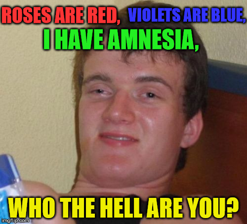 Sorry, who are you again? |  ROSES ARE RED, VIOLETS ARE BLUE, I HAVE AMNESIA, WHO THE HELL ARE YOU? | image tagged in memes,10 guy,roses are red,violets are blue,amnesia,who are you | made w/ Imgflip meme maker