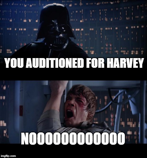 Star Wars No Meme | YOU AUDITIONED FOR HARVEY NOOOOOOOOOOOO | image tagged in memes,star wars no | made w/ Imgflip meme maker