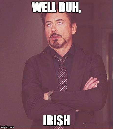 Face You Make Robert Downey Jr Meme | WELL DUH, IRISH | image tagged in memes,face you make robert downey jr | made w/ Imgflip meme maker