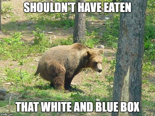SHOULDN'T HAVE EATEN THAT WHITE AND BLUE BOX | made w/ Imgflip meme maker