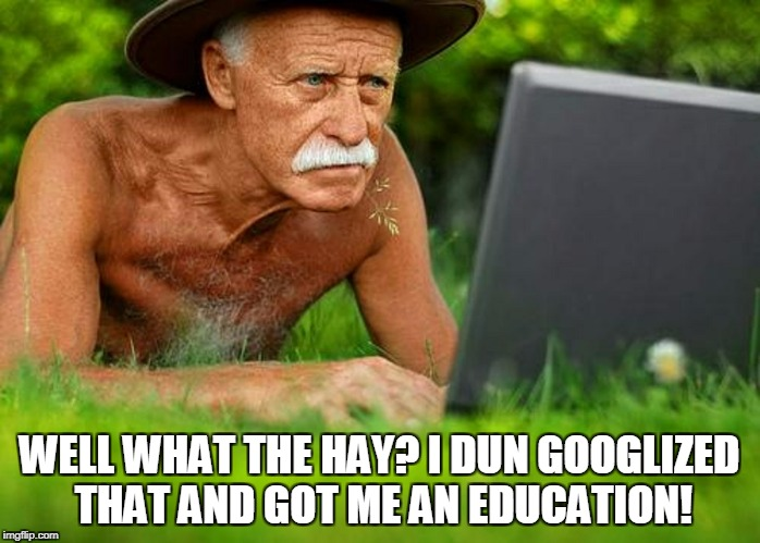 WELL WHAT THE HAY? I DUN GOOGLIZED THAT AND GOT ME AN EDUCATION! | made w/ Imgflip meme maker