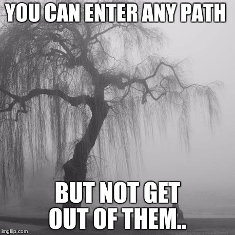 YOU CAN ENTER ANY PATH BUT NOT GET OUT OF THEM.. | image tagged in lost | made w/ Imgflip meme maker