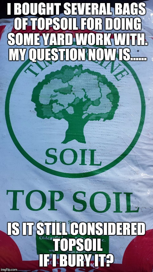 Not so top soil..... | I BOUGHT SEVERAL BAGS OF TOPSOIL FOR DOING SOME YARD WORK WITH. MY QUESTION NOW IS...... IS IT STILL CONSIDERED TOPSOIL IF I BURY IT? | image tagged in topsoil,memes,original meme | made w/ Imgflip meme maker