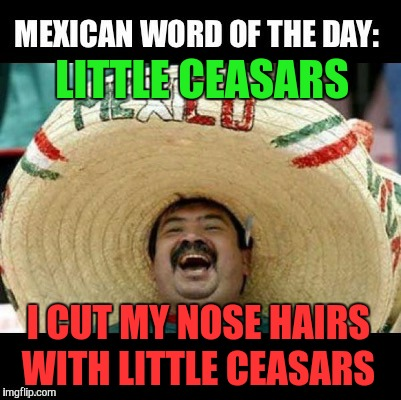 Mexican Word of the Day (LARGE) | LITTLE CEASARS I CUT MY NOSE HAIRS WITH LITTLE CEASARS | image tagged in mexican word of the day large | made w/ Imgflip meme maker