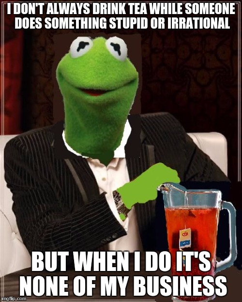 I DON'T ALWAYS DRINK TEA WHILE SOMEONE DOES SOMETHING STUPID OR IRRATIONAL BUT WHEN I DO IT'S NONE OF MY BUSINESS | image tagged in the most interesting kermit the frog in the world | made w/ Imgflip meme maker