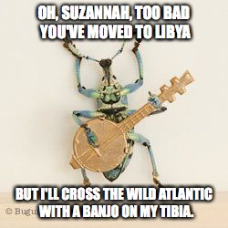 OH, SUZANNAH, TOO BAD YOU'VE MOVED TO LIBYA BUT I'LL CROSS THE WILD ATLANTIC  WITH A BANJO ON MY TIBIA. | image tagged in buggyjo | made w/ Imgflip meme maker