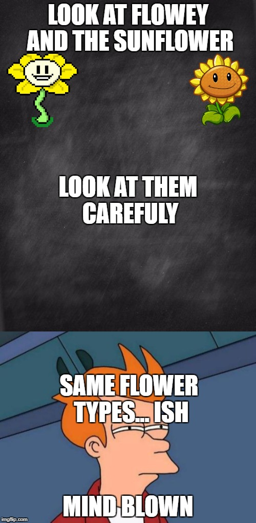 the sunflower and flowey are the same | LOOK AT FLOWEY AND THE SUNFLOWER MIND BLOWN LOOK AT THEM CAREFULY SAME FLOWER TYPES... ISH | image tagged in pvz,undertale,futurama fry | made w/ Imgflip meme maker